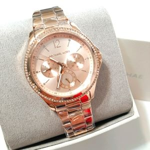 NWT Mk Chronograph Rose Gold ose Gold-Tone Stainle
